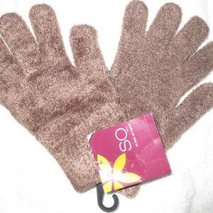 Fuzzy New Acrylic Light Brown/Dark Tan Gloves